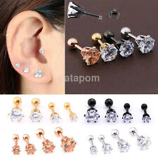 2PCS Prong Tragus Cartilage Piercing Earring Stud Ear Lip Ring Stainless Steel