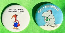 "2 Sarah Boynton Humerous Pinbacks: ""Speeding Pullet"" & ""Holly Hippodays"""
