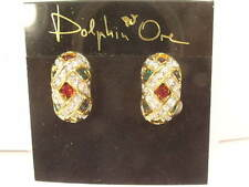 pierced With Swarovski Crystals # 476 Designer Earrings multi color clip or