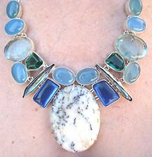 DENDRITE OPAL, MOONSTONE, SNAKESKIN QUARTZ, M.O.P. NECKLACE, 925 STERLING SILVER