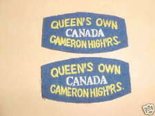 CANADIAN QUEEN'S OWN CAMERON HIGHLANDERS CANADA CLOTH TITLE'S PAIR