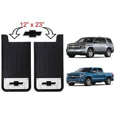 New Licensed Stainless Steel Black 12X23 Rear Splash Guards Mud Flaps for Chevy
