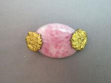 Vintage Art Deco Art Nouveau Brooch Pink Rhodochrosite Stone Oval Gold Plated