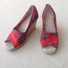 TOMS Peep Toe Red Blue Stripe Wedge Sandals 6.5 Rope Heel Espadrille Women Shoes