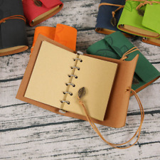 60x Leather Writing Journal Notebooks A5 Leaf Spiral Blank Refillable Sketchbook