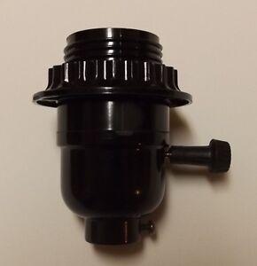 BLACK PHENOLIC 3-WAY TURN KNOB THREADED LAMP SOCKET WITH RING NEW 30548J