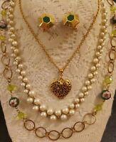 Monet Vintage Modern Estate Goldtone necklace lot 5pc Cloisonne Faux Pearl Heart