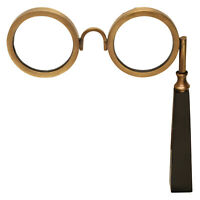 Lorgnette Magnifying Glasses - Old Fashioned Handled Antique Brass Spectacles