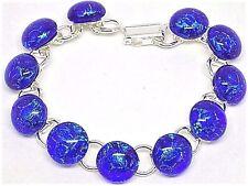 "Handmade Deep Blue Dichroic Glass Silver Plated Bracelet 7"" Length, Gift Boxed"