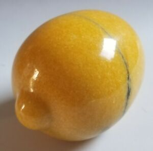 Vintage Carved Marble Alabaster Stone Fruit LEMON Yellow Figure Paperweight