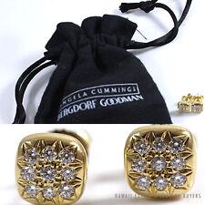 ANGELA CUMMINGS FOR BERGDORF GOODMAN DIAMOND PAVE 18K YELLOW GOLD STUD EARRINGS
