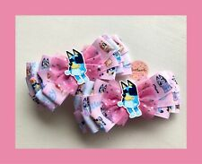 Girls/toddlers Handmade  Bluey&Bingo / Pink Large Hair Bow Clip