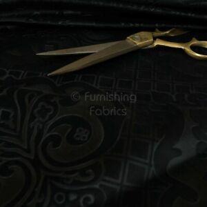 New Furnishing Embossed Damask Velvet Upholstery Fabric In Black Colour