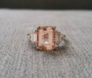 2Ct Emerald Cut Morganite Solitaire Women's Engagement Ring 14K Rose Gold Finish