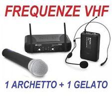 COPPIA MICROFONI WIRELESS senza fili PROFESSIONALI VHF gelato archetto recite