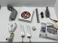 Nintendo Wii Console RVL-001 Tested Cables, Sensor Bar GameCube Compatible Games