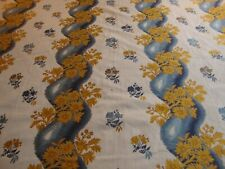 TRAVERS FLORAL UPHOLSTERY BROCADE, BY THE YARD,BLUE, GOLD