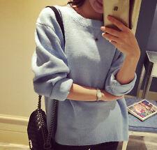 Comodo caldo maglione azzurro scollo barchetta morbido misto lana 4190 e9046f18d708