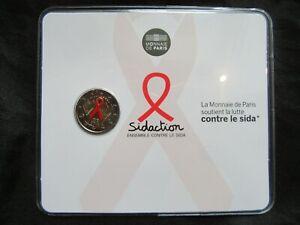 2 Euro Commémorative Coincard Bu France 2014 Colorisé ; Sidaction