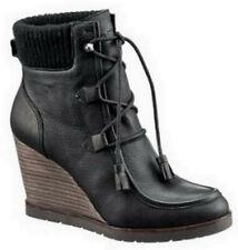 Marc O Polo Stiefelette 41 Leder Boots Stiefel Keilabsatz Plateau Schwarz NEU