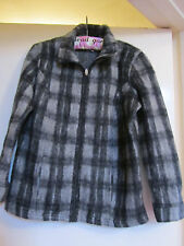 Grey Check M&S Per Una Zip Front Fleecey Jacket in Size S / Size 8 - 10