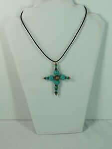 Handcrafted Blue Large Cross with Leather Necklace USA Seller