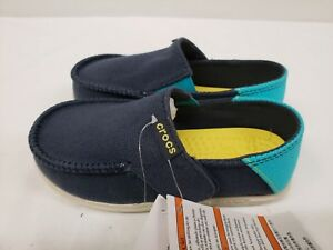 New Crocs Kids Santa Cruz Slip on Loafers, Navy Blue, Size 8/9, 10/11, 12/13