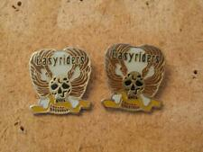 "PAIR Hat / Lapel Pins - ""Easyriders"" Winged Bone Skull - Wh/Gold - EXC Cond"