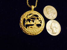 bling 14kt yellow gold plated ancient Egyptian desert oasis pyramid sphinx sign