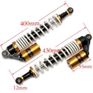 400mm 15 3/4 '' Motorcycle ATV Rear Air Shock Absorbers For Honda Suzuki White