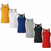 NEW MENS MUSCLE TOPS COTTON SLEEVELESS GYM FITNESS SPORTS COLOUR TRIM BEACH VEST