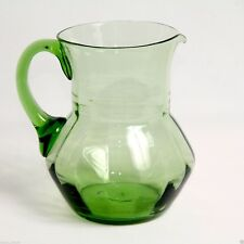 Glass Jug Mould Blown Panelled Emerald Green Victorian Antique c.1890 7.2in H