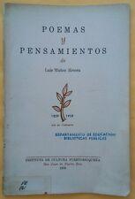 Poemas y Pensamientos de Luis Munoz Rivera Puerto Rico 1959