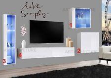 Matt Gloss Floating TV Unit Stand Display Cabinet Glass Shelves Led lights