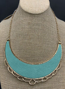 Barse Peter Pan Necklace- Turquoise Leather & Bronze- NWT