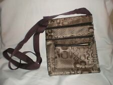 BROWN AND GOLD CANVAS OVER BODY BAG MULTI SECTION     GREAT BAG LITTLE USED