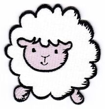 am61 Schaf Weiß Sheep Aufnäher Bügelbild Patch Kinder Tier Applikation Flicken