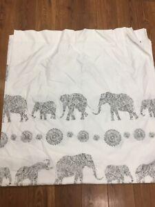 "CYNTHIA ROWLEY SHOWER CURTAIN WHITE GRAY ELEPHANTS COTTON BLEND 71"" X 71"" NICE!"