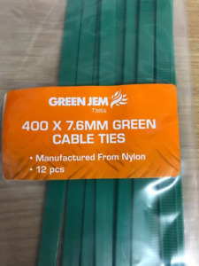 GREEN CABLE TIES FIXERS EASY TO USE REALLY STRONG LARGE 400MM X7.6MM PACK OF 12