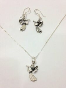 Vintage Mexican Angel Dangle Necklace Earring Jewelry Set Sterling Silver 925