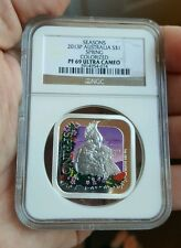 2013-P Australia Seasons $1 NGC MS69 Spring Sqaure Colorized 1 Oz .999 Silver ag