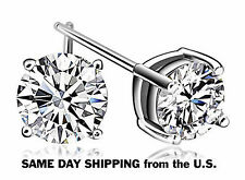 4ct tw 14K White Gold 8mm CZ Studs Earrings NEW