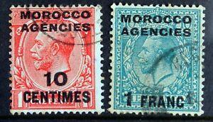 Morocco Agencies – 1925  SG203 / 210 (2) – Superb Used (R8)