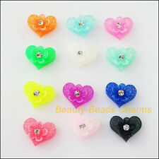 30Pcs Mixed Resin Heart Cameos fit Cabochons Settings Flatback Charms 8.5x10.5mm