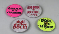 Vintage Set Of 4 Bob Dole Humerous Presidential Campaign Buttons & Pins
