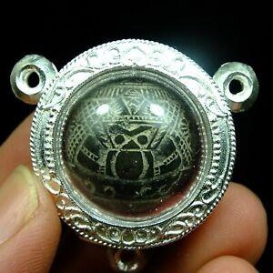 Rare Old Beautyful Rahu Craved Coconut Shell Thai Buddha Amulet Pendant