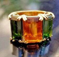 Vintage Golden Citrine Green Tourmaline Wide 18k yellow gold ring/band