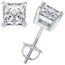 3.10CT Princess Cut Solitaire Brilliant Stud Earrings 14k White Gold Screwback