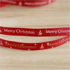 2PCS - 1 Yard Each - Xmas CHRISTMAS Red 1cm Ribbon Decor Gift Present