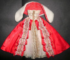 Barbie, Sindy, Tammy doll clothes: Red & gold Princess dress, ballgown fur wrap